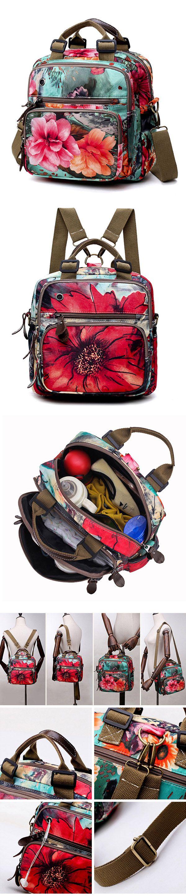 US$25.42  National Style Outdoor Flower Pattern Shoulder Bag Crossbody Bag Mommy Backpack For Women