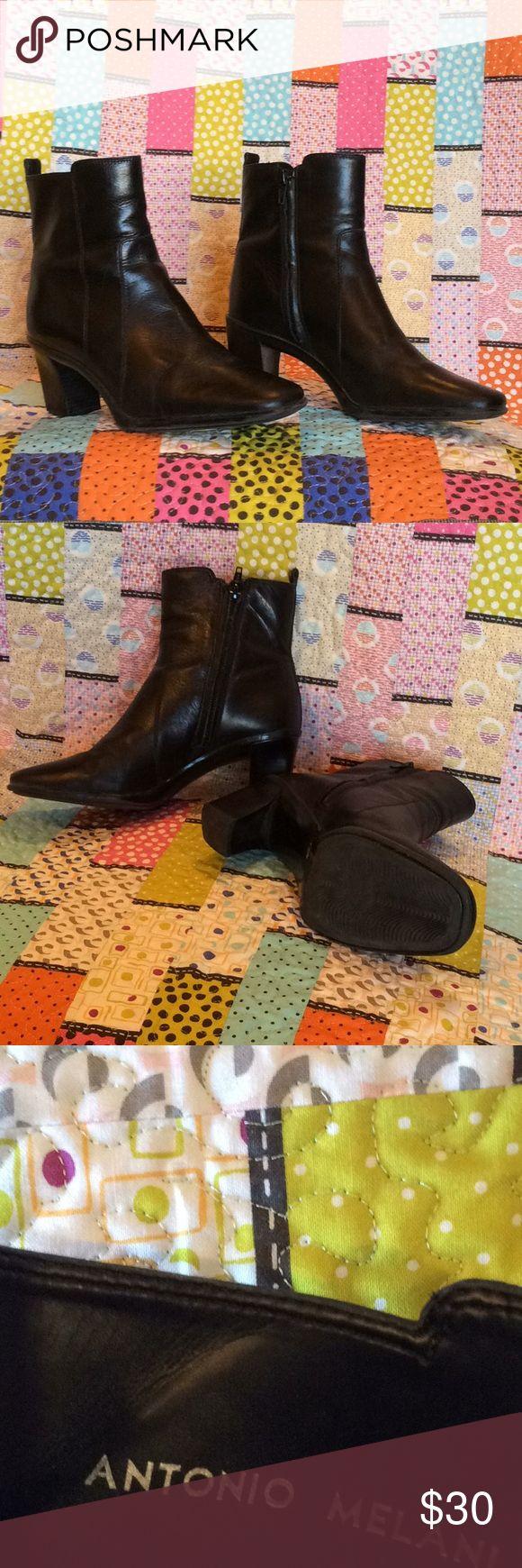 Ladies Black Antonio Melani Boots Black Leather Booties Little bit of wear on heel otherwise in great shape ANTONIO MELANI Shoes Ankle Boots & Booties
