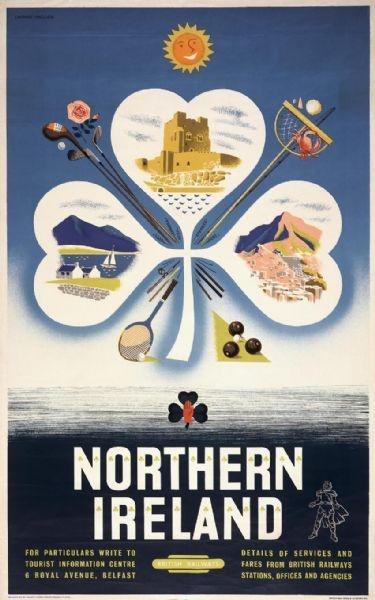 This poster was originally used by British Railway to promote tourism.  The poster shows an image of famous landmarks of Northern Ireland.  It shows Carrickfergus Castle, The Giants Causeway and has a shamrock on it.