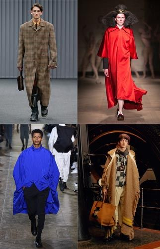 Poncho-style, large, wavy pieces. Top left: Balenciaga autumn 17, Top right: Charles Jeffrey autumn 17, Bottom left: Issey Miyake autumn 2017, Bottom right: Loewe autumn 2017