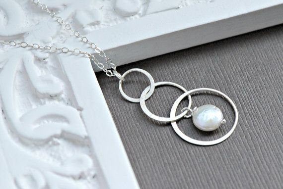 Silver Eternity Necklace - Necklaces for Bridesmaids, Bridesmaid gifts, Three Intertwined Rings, Interlocking Circles Necklace
