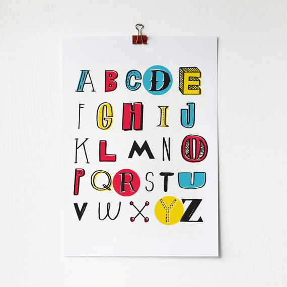 A3 Colourful Alphabet Print by amyawalters on Etsy