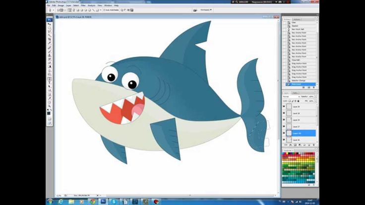 Illustrating drawing painting - cartoon shark Jak narysować rekina