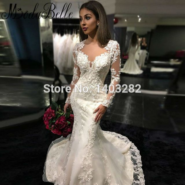 Fancy Online Shop Sexy Open Back Long Sleeves Mermaid Wedding Dresses Lace Appliques Luxury Crystal Beaded Bridal Gowns