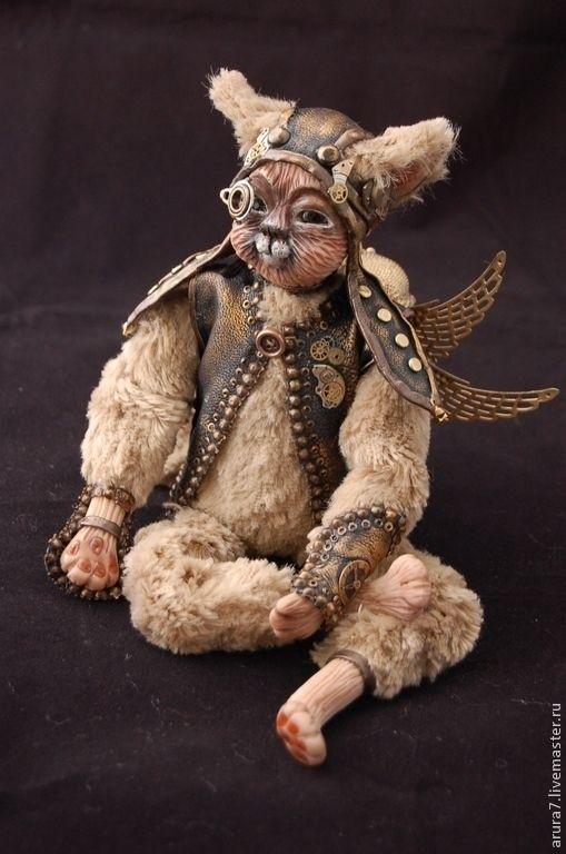 Купить Котенок Альфик. Будуарная кукла в стиле стимпанк - золотой, котенок, кошка кукла