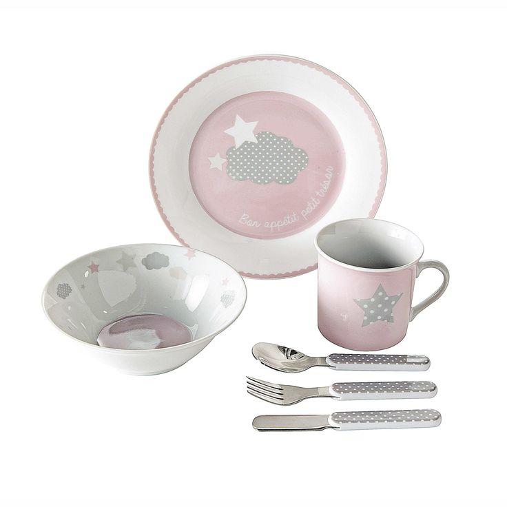 Coffret repas b�b� en porcelaine rose TR�SOR