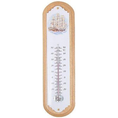 AN 20.3046 - Termometro smaltato con cornice in legno chiaro - H 32 cm