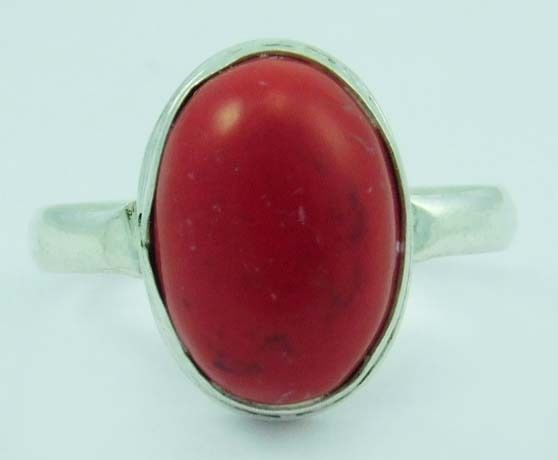 CORAL GEMSTONE 925 STERLING SILVER OVERLAY NEW FASHION RING SIZE 10 #arvi85 #Ring