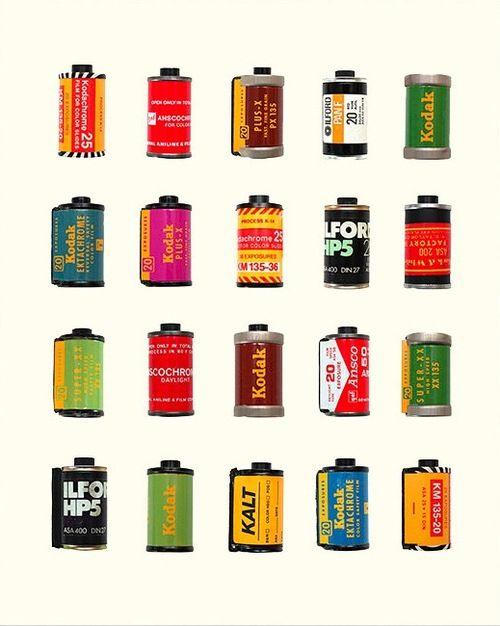 Vintage colorful 35mm film canisters art print.  http://www.etsy.com/listing/119574957/vintage-film-canisters-35mm-film-kodak