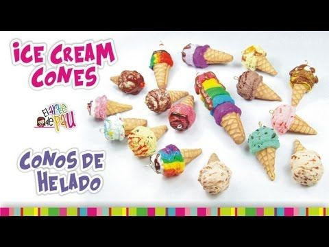 ICE CREAM CONES Polymer Clay Tutorial / CONOS DE HELADO de Arcilla Polimérica - YouTube