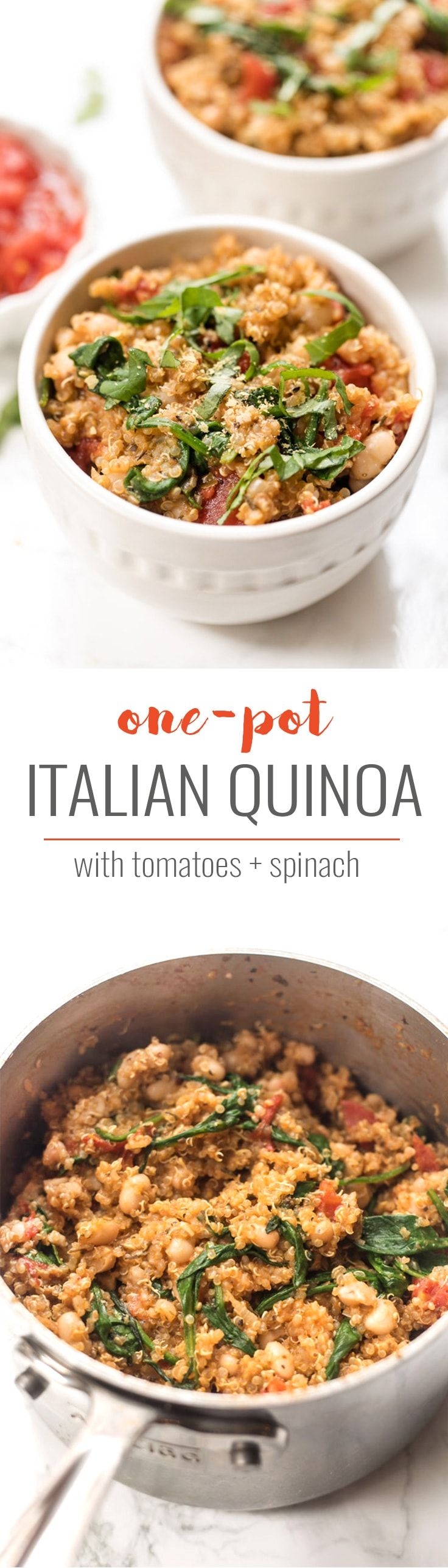 An easy & HEALTHY Italian Quinoa made in just ONE POT with tons of flavor and fresh ingredients! [VEGAN] Simply Quinoa #italianrecipe #onepot #quinoarecipe #simplyquinoa #veganrecipe