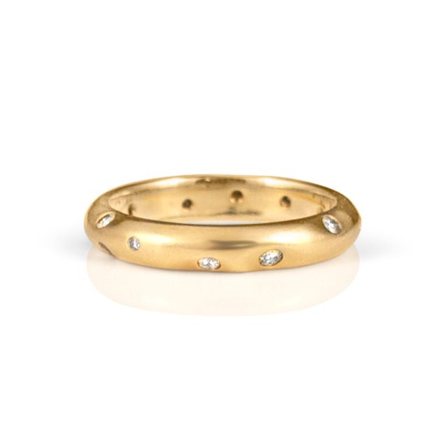 Stacking Wedding Ring    14kyellowgold wedding band. Multicoloureddiamonds,softfaceted stackingring,3mm wide      $950
