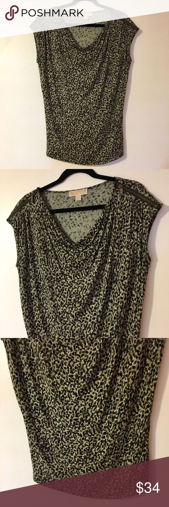 Michael Michael Kors Camo Blousy Shirt Medium Michael Michael Kors Green Camo Style Blousy Zipper Shirt Medium Has zippers on each side of shoulder Material is super soft: 95% rayon 5% spandex Excellent condition! MICHAEL Michael Kors Tops Blouses