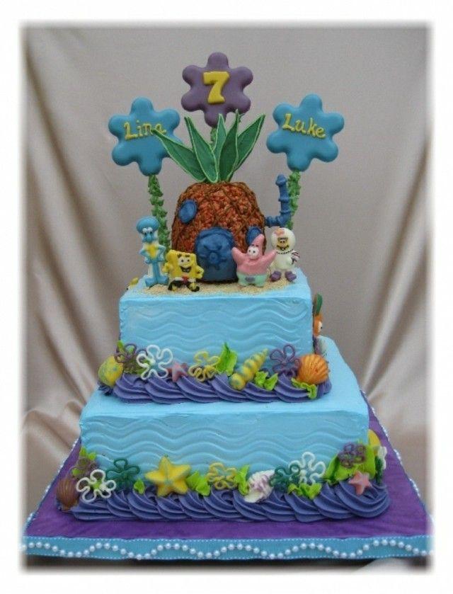 Gâteau à étages pour des jumaux inspiré par Bob l'éponge