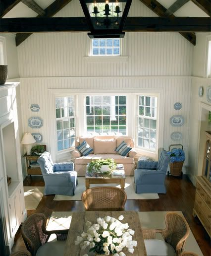 Painted Pine Walls Stained Beams Great Light Cozy RoomFamily Room DesignCoastal Family RoomsCoastal LivingBead Board