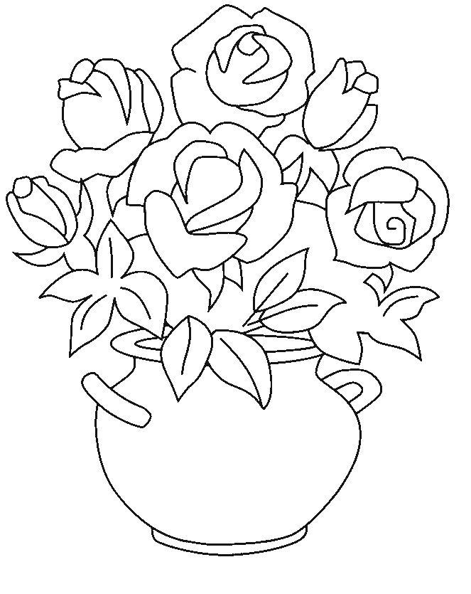 bloemen vaas met rozen natuur kleurplaten op gratis