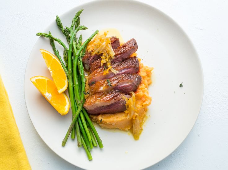Customer Favourite - This succulent duck breast with its velvety orange sauce tastes like sunshine. Accompanied by creamy mashed potatoes and asparagus you will want to have this dish every week.
