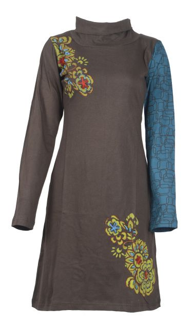 Ladies Long Sleeved High Neck Design Brown Dress with Flower Embroidery- (Brown-4006)