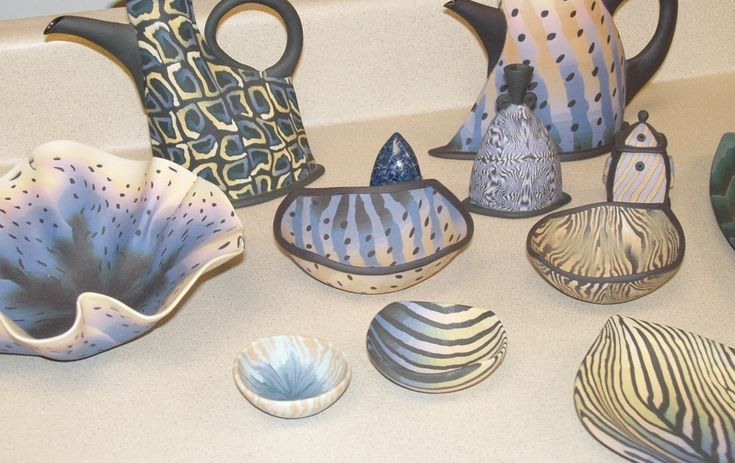 "Colored Porcelain, fired pieces by artist Karen Orsillo   Karen Orsillo  demonstrates the  ""scallop pattern"" technique  My first colored por..."