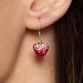 Stunning heart earrings studded with real zirconia $34.03