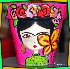Resultado de imagen de macetas pintadas con frida kahlo