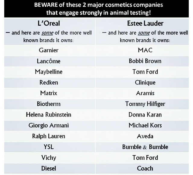 The major cosmetic companies that use animal testing