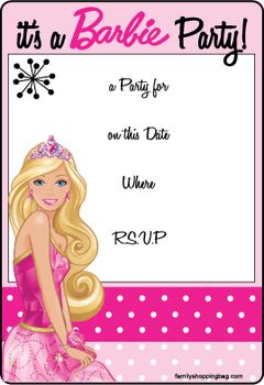 new printable barbie invitations printables in 2018 pinterest