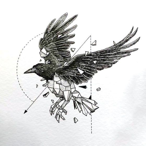 Incredible fine line raven design.