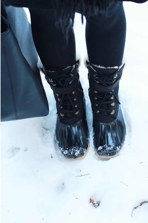 Poor Little It Girl - Winter Snow Boots and Head To Toe Black