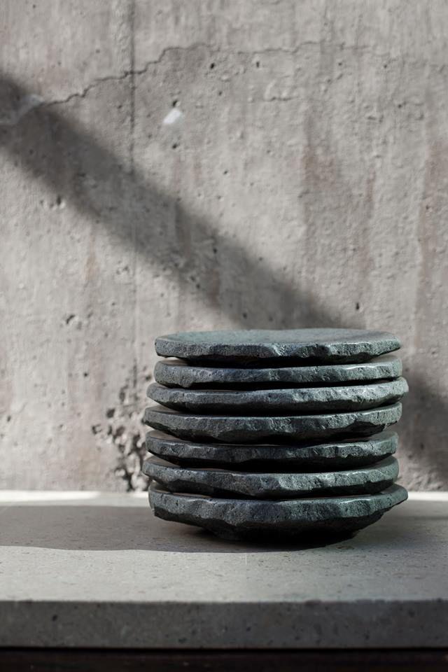 Stone plates at Borago restaurante in Santiago de Chile. LOve.