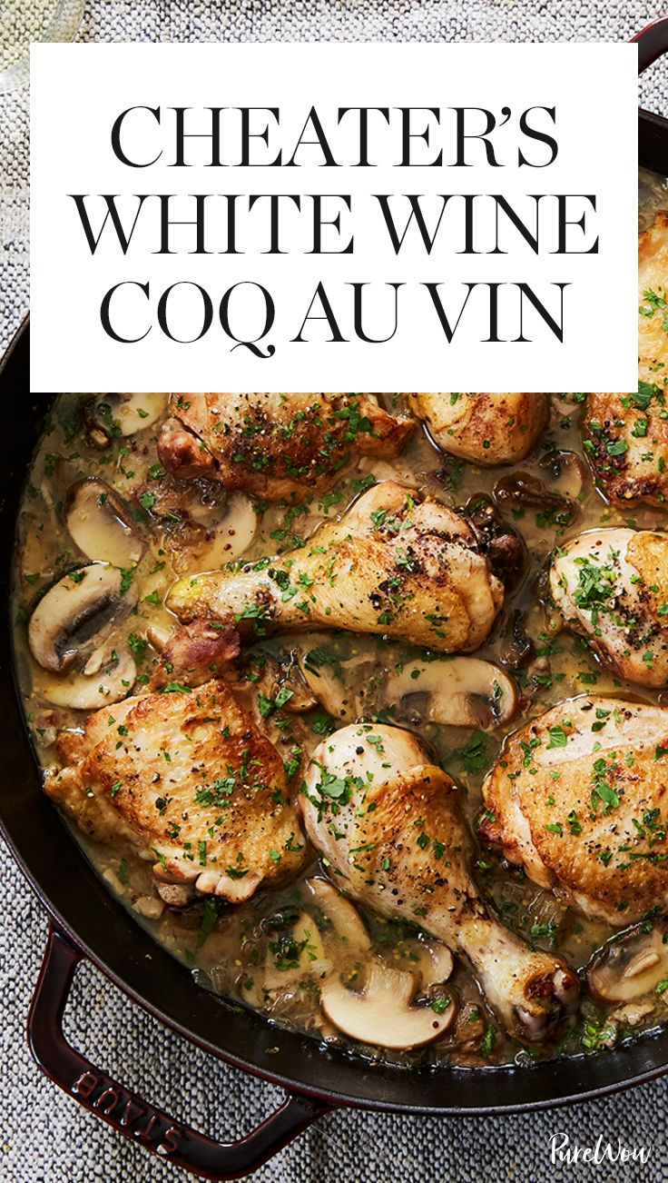 Enter our version of Coq Au Vin, which is ready in under an hour and totally foolproof. Plus, it's made with dry white wine instead of red for an elegant twist. #coqauvin #chickenrecipes #chickendinners #dinnerpartyrecipes #easydinnerrecipes