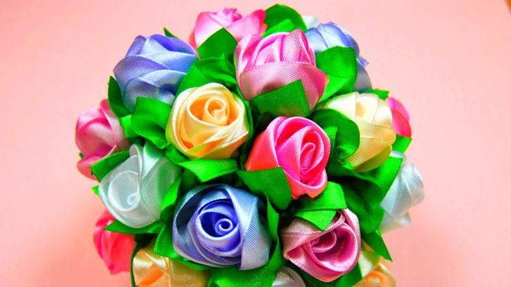 Мастер-класс: Бутоны Роз в Букет-Шар. / Ribbon Rose, Bouquet-Ball / ✿ Na...