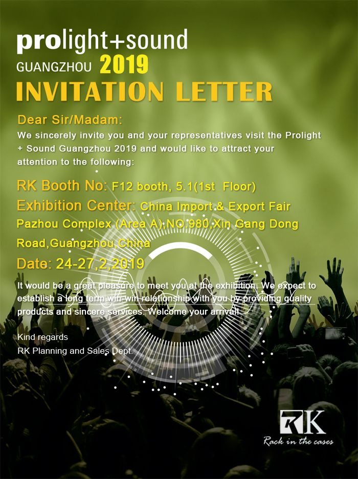 Exhibition Booth Invitation : Rk will attend prolight sound guangzhou 2019 we sincerely invite