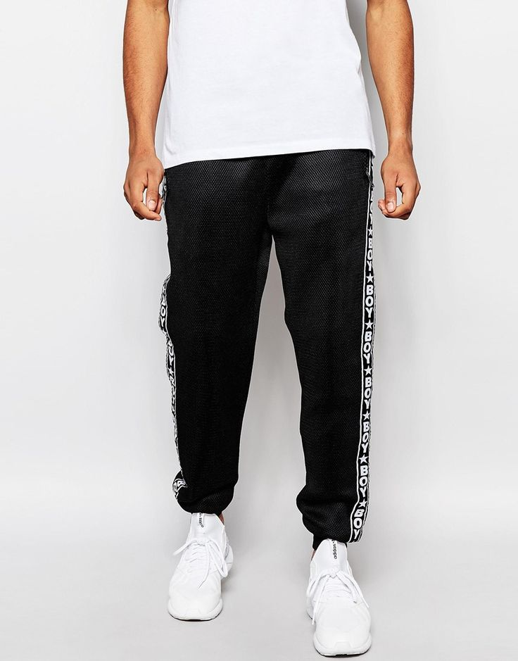 pantalon de jogging par boy london molleton doux superposition maille filet cordon de serrage la