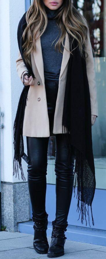 #winter #fashion / beige coat + layers