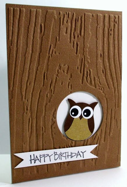 handmade card from Jenfa Cards: Birthday Owl ... SU punched owl peeks out from hole in embossed treetrunk panel ... luv those eyes!