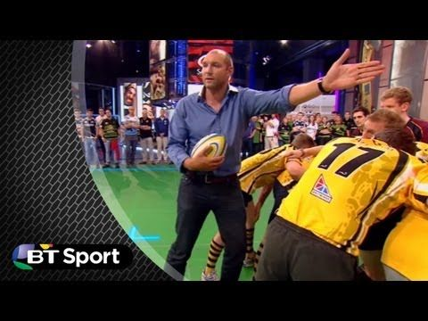Rugby tonight use a pitch demo to explain how to do a successful attacking line-out. The experts are joined by Mark Cueto of Sale Sharks. - BT Sport