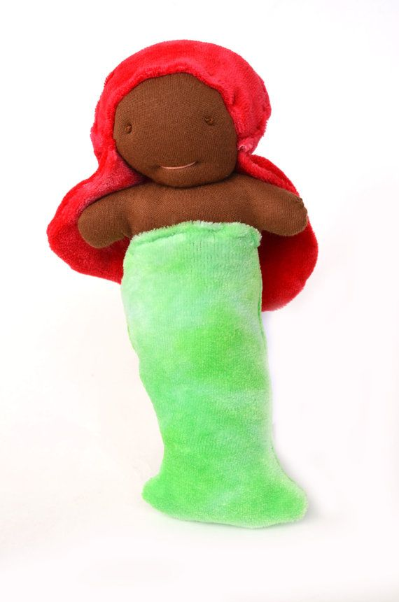 """""""AFRICAN AMERICAN PLUSH / STUFFED MERMAID DOLL FOR KIDS!"""" This beautiful Little Mermaid doll is designed by an #ETSY artist, who's bringing multiracial toys """"down under the sea""""! A fantastic toy for just $20. Children learn from what they're surrounded by, so whatever the ethnicity of your child, let their toys and games reflect the diverse world that awaits them."""
