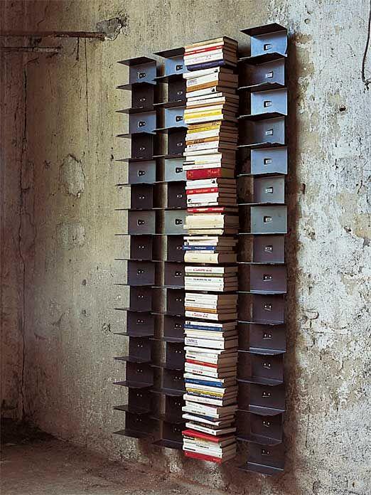 Bücherregal Ptolomeo Wall 15 Fächer, Höhe 210 cm, Stahlbelch schwarz