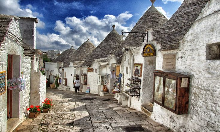 Picture of a street with trulli in Puglia, Italy