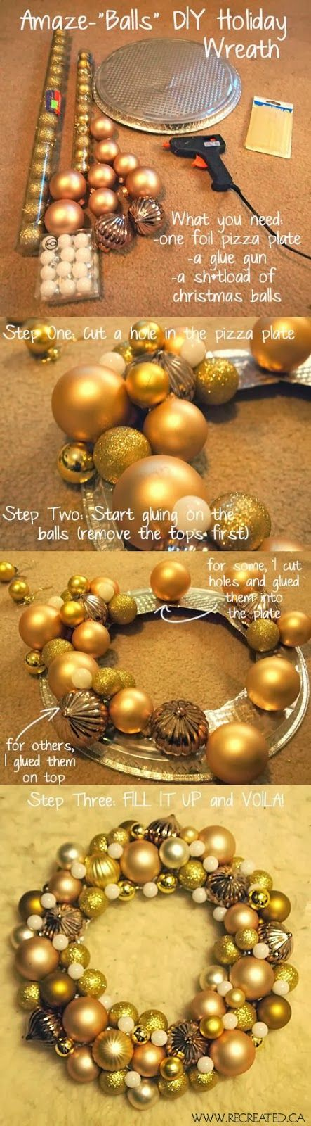 Easy DIY Christmas ornament wreath