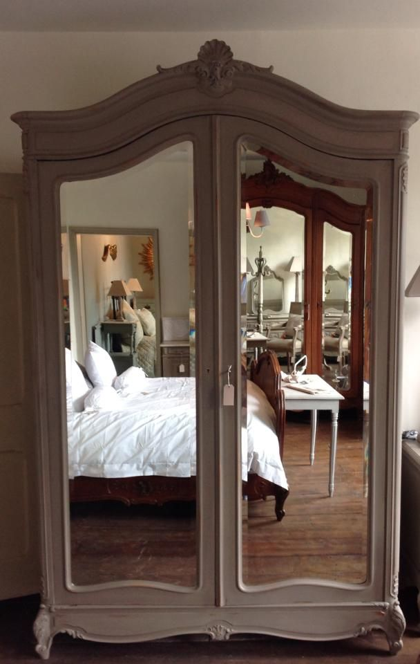 Antique Large French Louis XV walnut painted French Linen Armoire - Wardrob