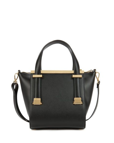 Leather metal bar shopper Black | Bags | Ted Baker FR