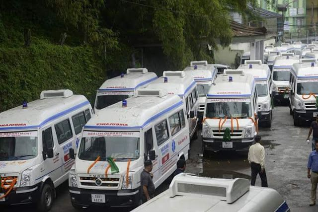 Sikkim gets 31 basic life support ambulances equipped with latest technology today   31 ambulances were jointly flagged off by the Minister for Transport Department Mr. DT Lepcha and Minister for Health Care Human Services and Family Welfare Department Mr AK Ghatani at SNT complex today.  These Basic Life Support Ambulance (BLSA) have been allotted to various PHCs CHCs District Hospitals and STNM Hospitals and are well equipped with latest technology like oxygen concentrator BLS Medical Kit…