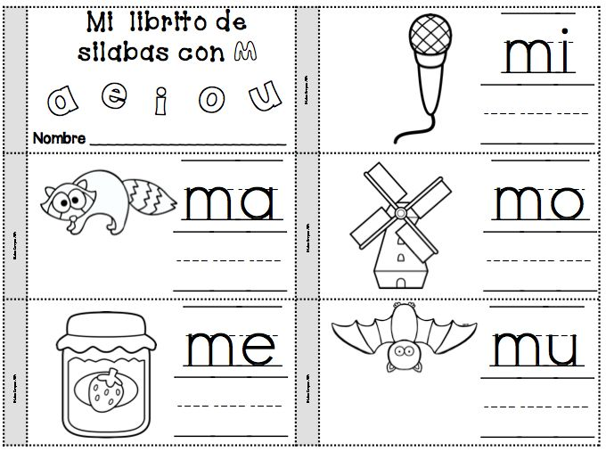 mi librito para la letra m - mi librito de silabas con m - ma, me, mi, mo, mu - se los pueden llevar a casa para practicar las silabas. Great take home word work for practicing syllables every week.