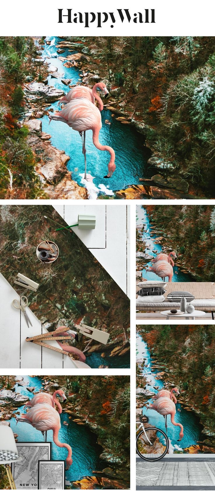 Flamingo Forest Wall Mural / Wallpaper Animals