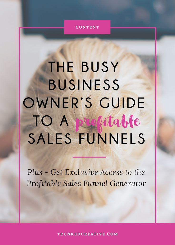 Online business owner? Meet your new best friend: The Sales Funnel. Click through to create your own super profitable sales funnel, plus to download the Profitable Sales Funnel Generator. From trunkedcreative.com