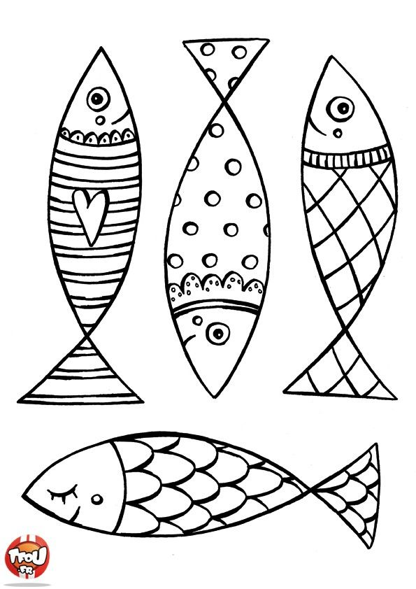 Coloriage Poisson Davril A Colorier.Poisson D Avril Coloriages A Imprimer Line Drawings Fish