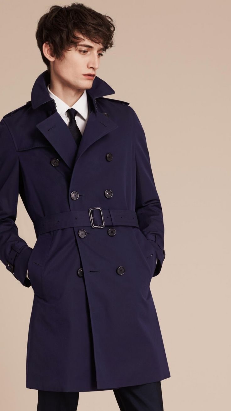 Mr. Burberry Chelsea Cotton Gabardine Trench Coat in Navy