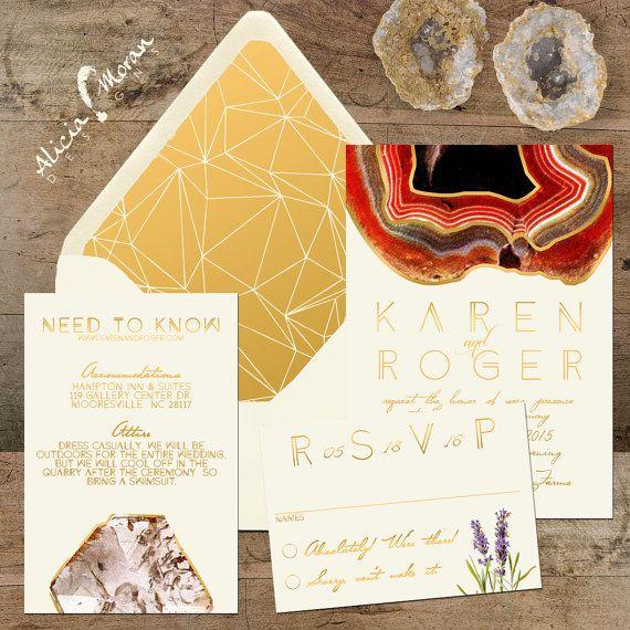 Wedding Invitation Suite: Rocks Minerals Gems Quarry by pixelpaper